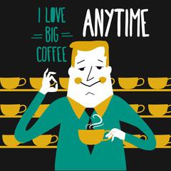 Coffee break, businessman drinking  coffee