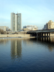 Moscow government building on Moskva-river embankment