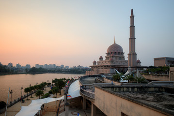 Putra Mosque, Putrajaya, Malaysia on sunset moment