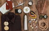 Travel. Overhead view of hiking gear laid out for a backpacking