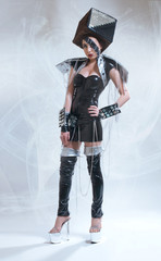 Woman in fututistic costume