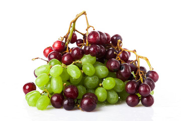 fresh rose and green grapes