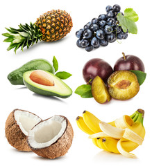 collection of fruits isolated on the white background
