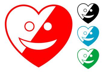 Pictograma corazon alegre en varios colores