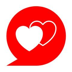 Icono simbolo corazones en comentario