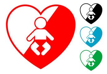 Pictograma corazon con bebe en varios colores