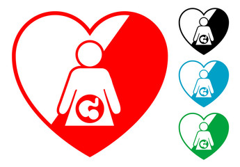 Pictograma corazon con embarazo en varios colores