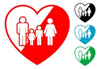 Pictograma corazon con familia en varios colores
