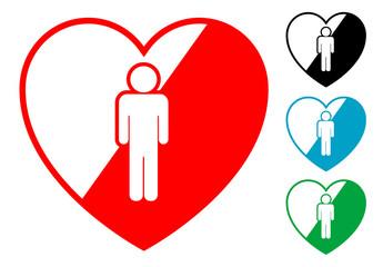 Pictograma corazon con hombre en varios colores
