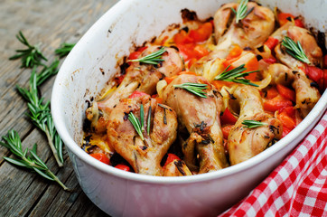 chicken baked with rosemary and vegetables