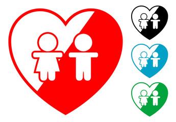 Pictograma corazon con infancia en varios colores
