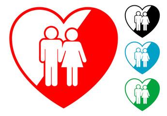Pictograma corazon con matrimonino en varios colores