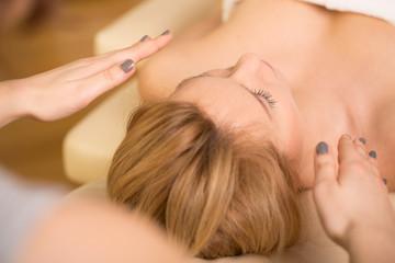 Relaxing during reiki healing