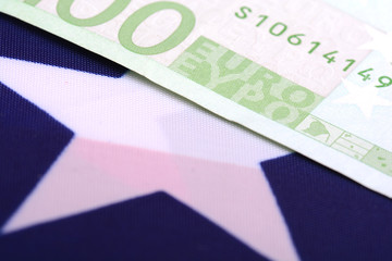 european money on american flag