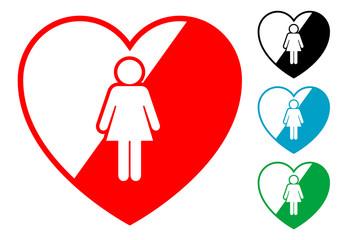 Pictograma corazon con mujer en varios colores