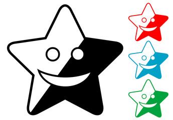 Pictograma estrella alegre en varios colores