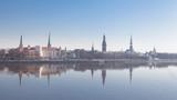 Beautiful scenery of Riga centre with reflection in Daugava