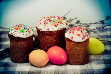 Easter baked cakes and color eggs