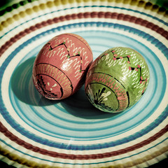 Easter color eggs in vintage style
