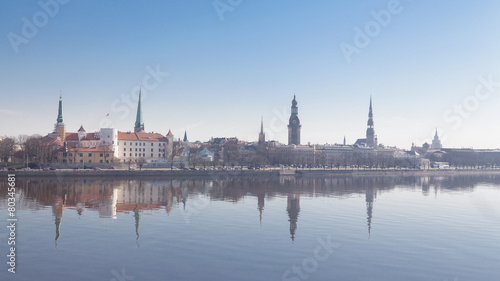 Beautiful scenery of Riga centre with reflection in Daugava - 80345681