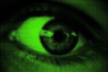 Black and white halftone dotted eye on green background