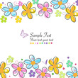 Colorful doodle spring flowers frame greeting card