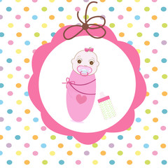 Newborn swaddle baby girl with bottle greeting card