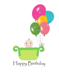 Happy first birthday greeting card with balloons