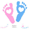 Twin baby girl and boy feet prints arrival greeting card vector - 80347204