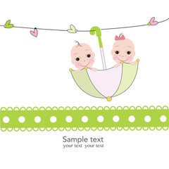 Twin baby boy and girl with umbrella baby shower card