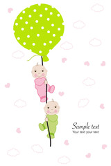 Twin baby hold balloon baby shower greeting card