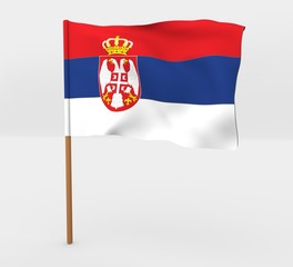 Serbia isolated windy flag on a brown mast 3d illustration