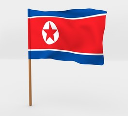 North Korea isolated windy flag on a brown mast 3d illustration