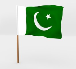 Pakistan isolated windy flag on a brown mast 3d illustration