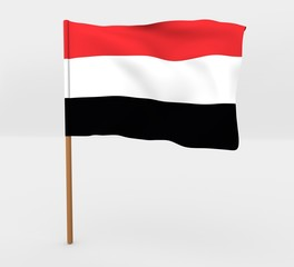 Yemen isolated windy flag on a brown mast 3d illustration