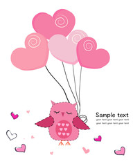 Cute owl with hearts balloon greeting card