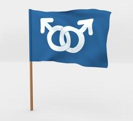 Gay men symbol isolated windy flag on mast 3d illustration