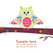 Owl with flowers colorful greeting card