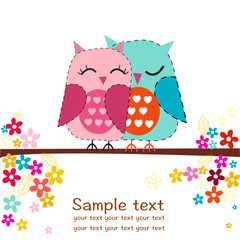 Couple owls with flowers greeting card