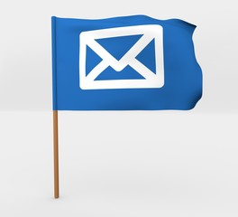 Envelope symbol isolated windy flag on mast 3d illustration