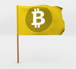 Bit coin symbol isolated windy flag on mast 3d illustration