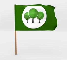 Trees symbol isolated windy flag on mast 3d illustration