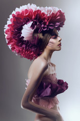 Creative beauty shot with pink headdress