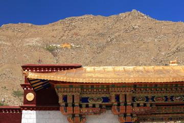 Sera Utse-hermitage over gilded roof. Sera monastery-Tibet. 1271