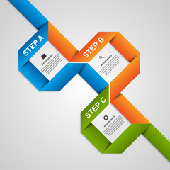 Abstract paper ribbons options infographic. Design element.