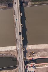 aerial view of city bridge in Poland