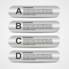 Abstract metal business options infographics.
