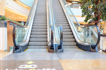 The image of empty escalator in shopping center