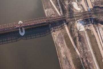 aerial view of railway bridge