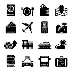 Silhouette travel, transportation and vacation icons